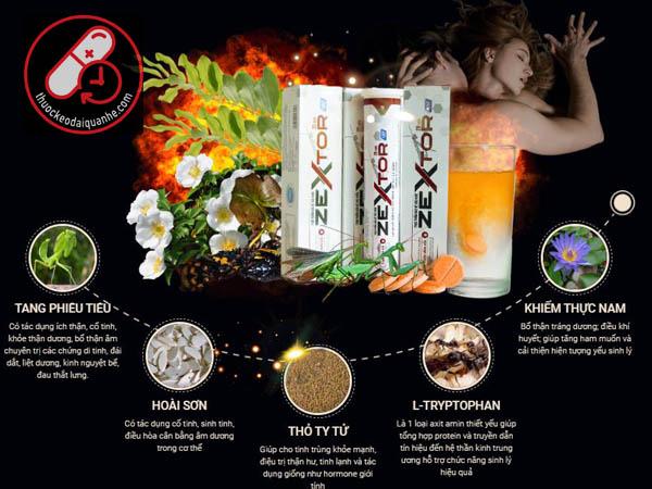 Thành Phần Viên sủi Zextor chính hãng - Tăng cường sinh lý nam