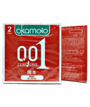 Bao cao su Okamoto 0.01 Siêu Mỏng (Hộp 2 cái)