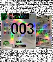 Bao cao su Okamoto 003 Platinum Siêu Mỏng (Hộp 3 cái)