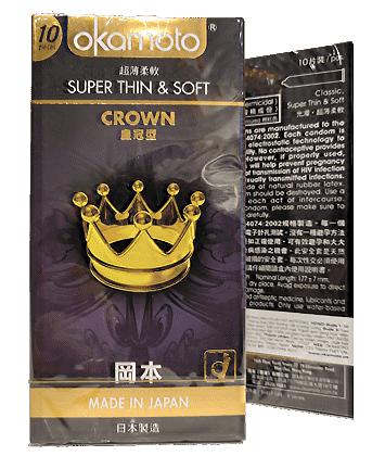 Bao cao su Okamoto CROWN Siêu Mỏng Siêu Mềm (Hộp 10 cái)